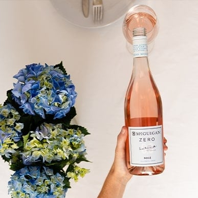 McGuigan Zero Rose Bottle being poured into a glass