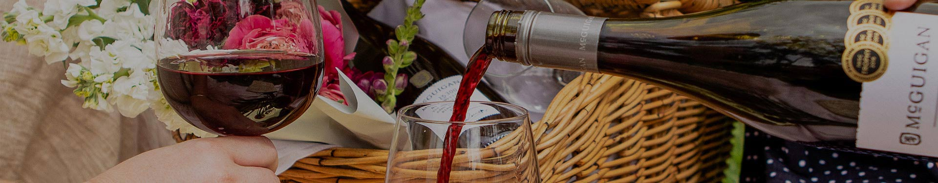 McGuigan red wine being poured in a picnic